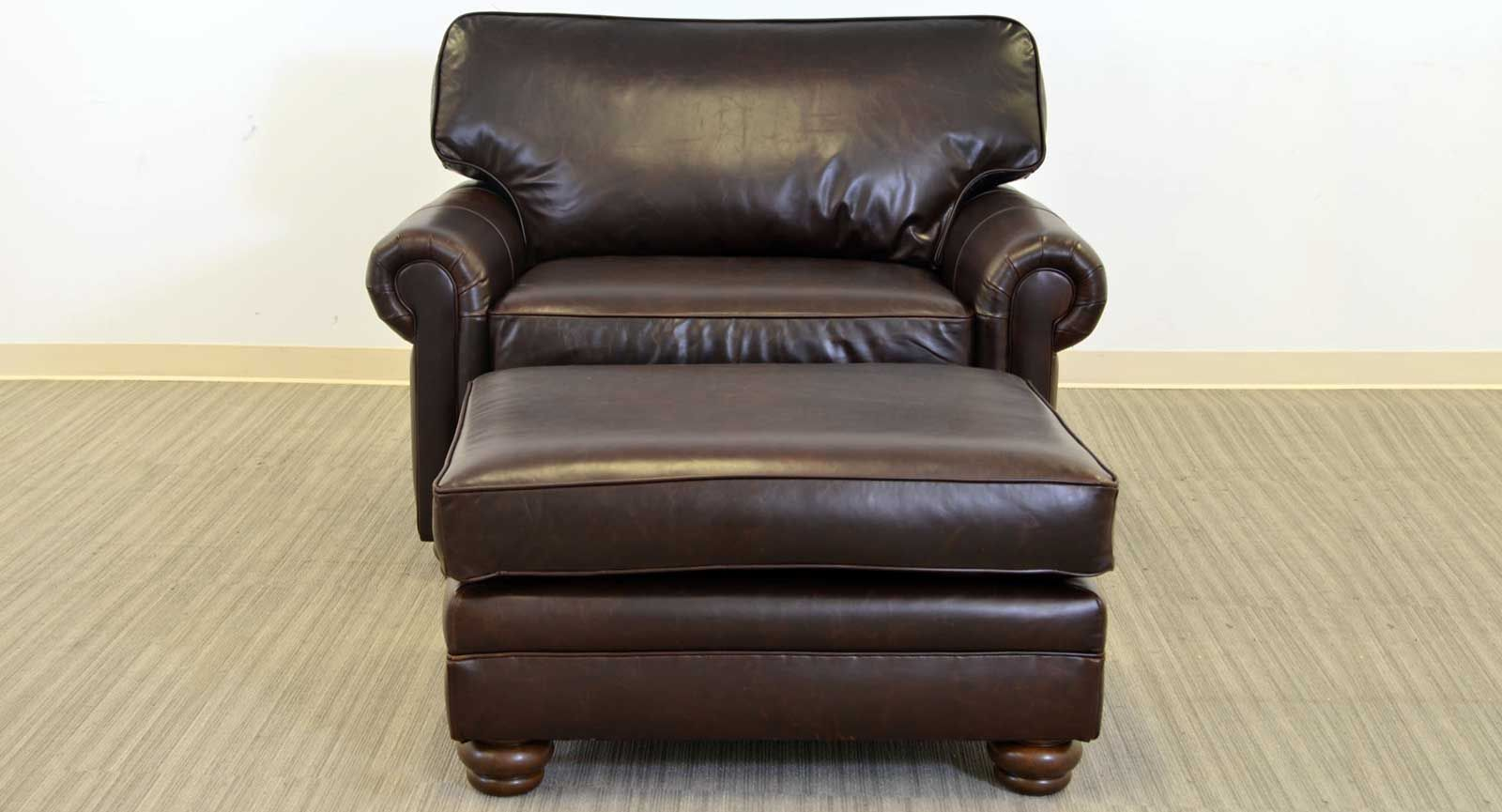 Lancaster chair and a half ottoman the leather sofa