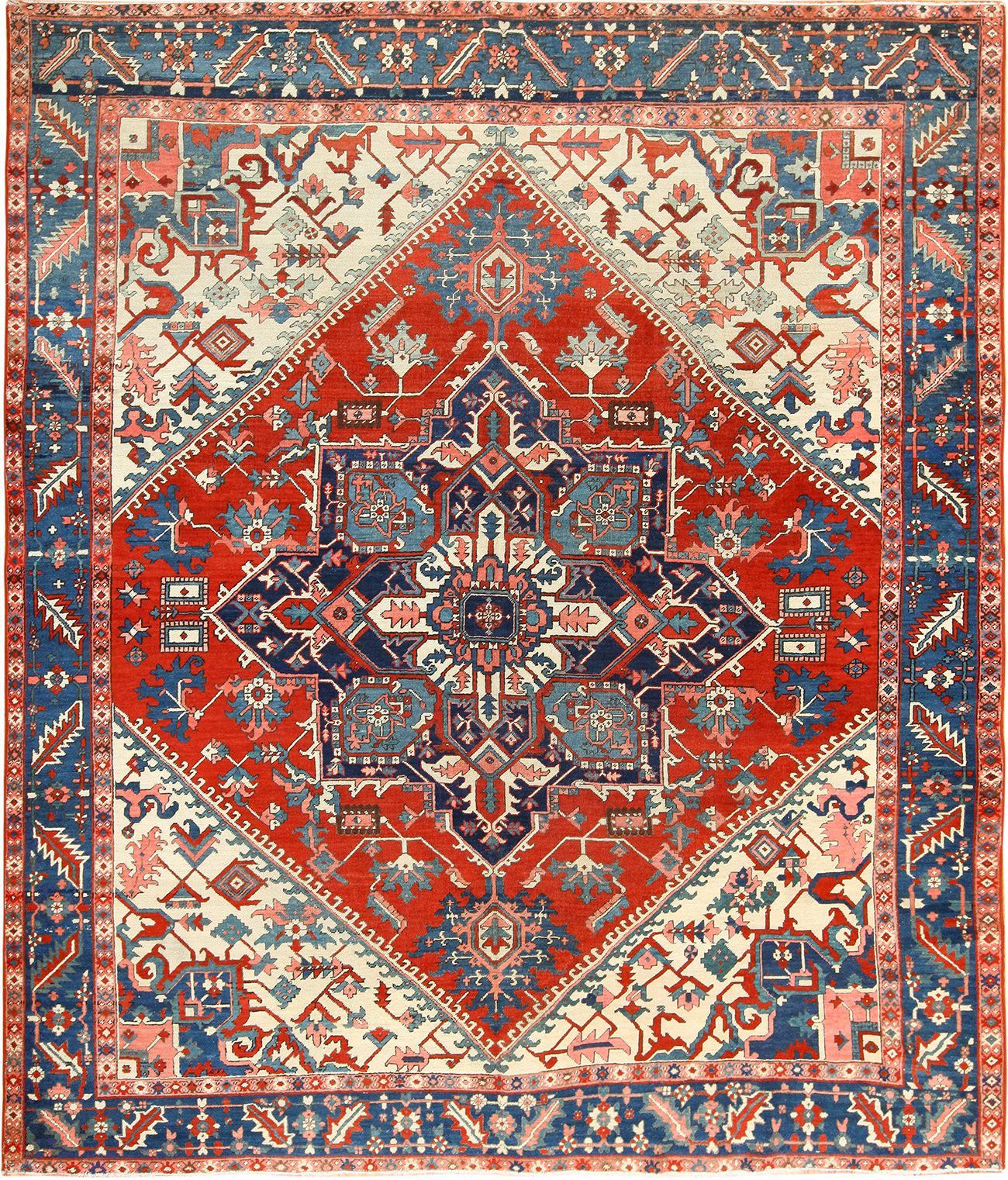 Oriental Room Size Persian Antique Serapi Heriz Rug 49396 By