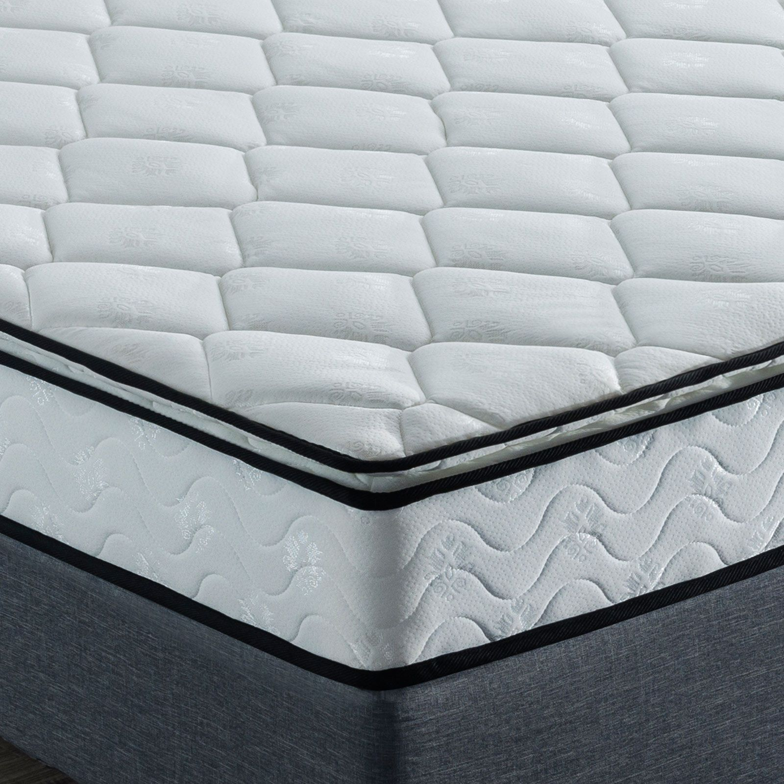 Queen Mattress Pillow Top Double Bed Single King Luxury 7zone