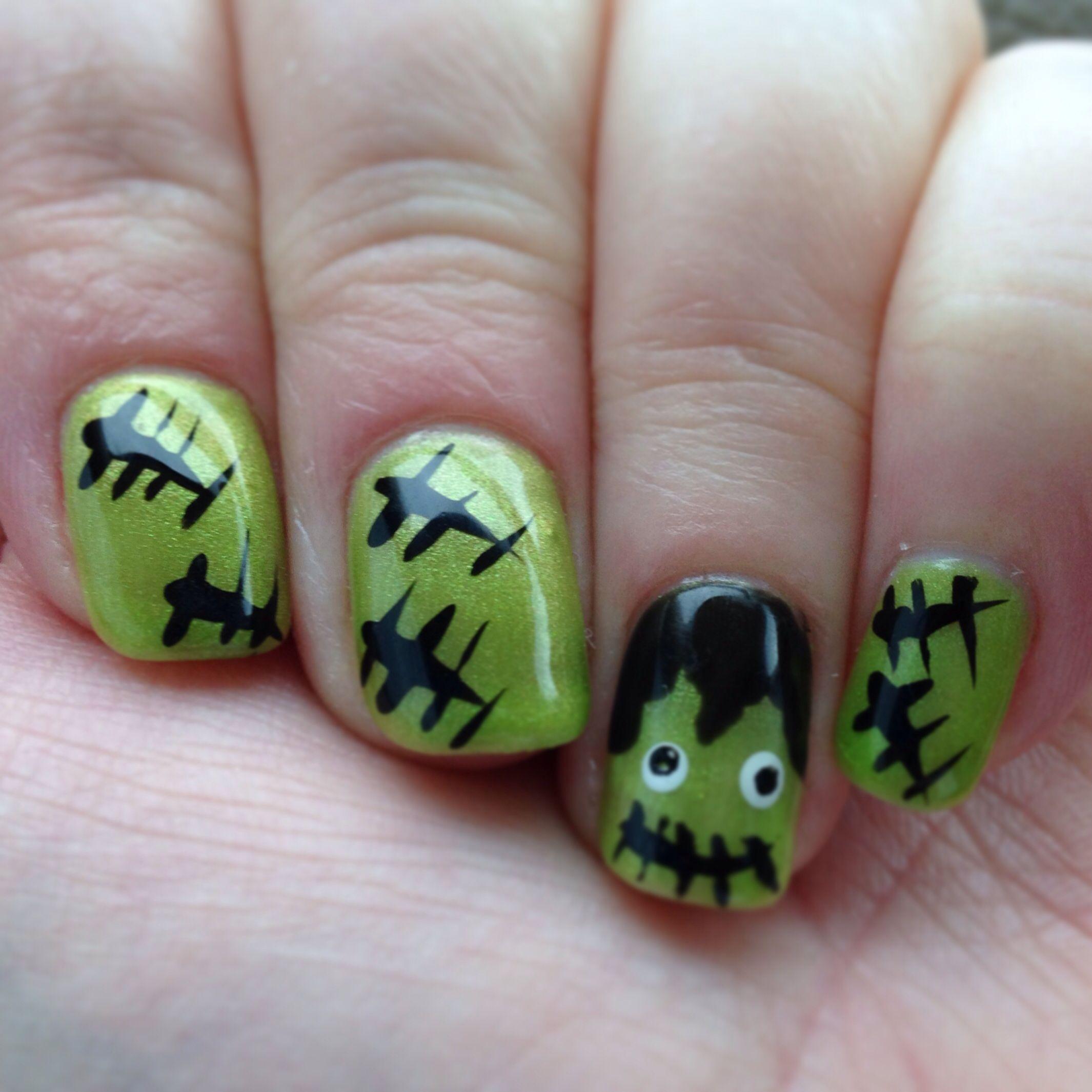 Frankenstein Nail Art Nail It Pinterest Frankenstein