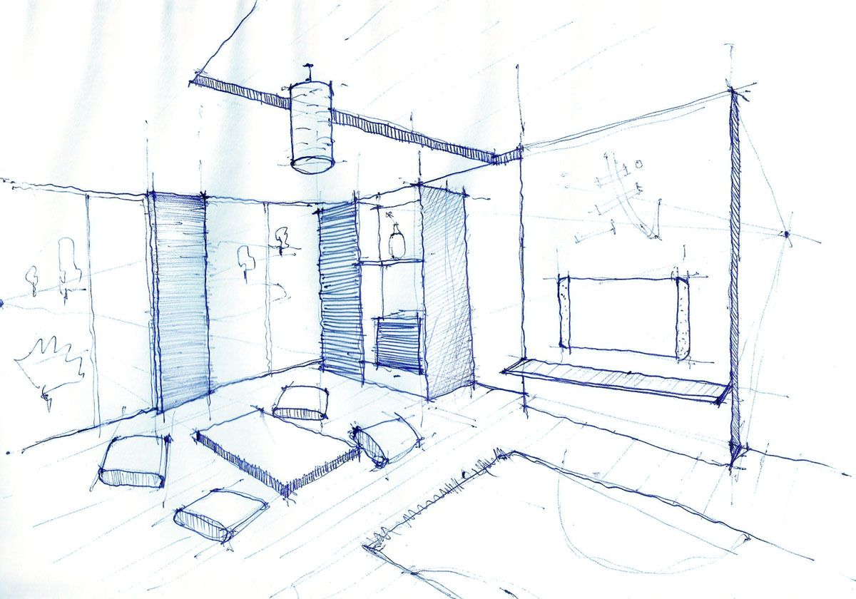 Living room drawing design - Interior Design Drawing Living Room