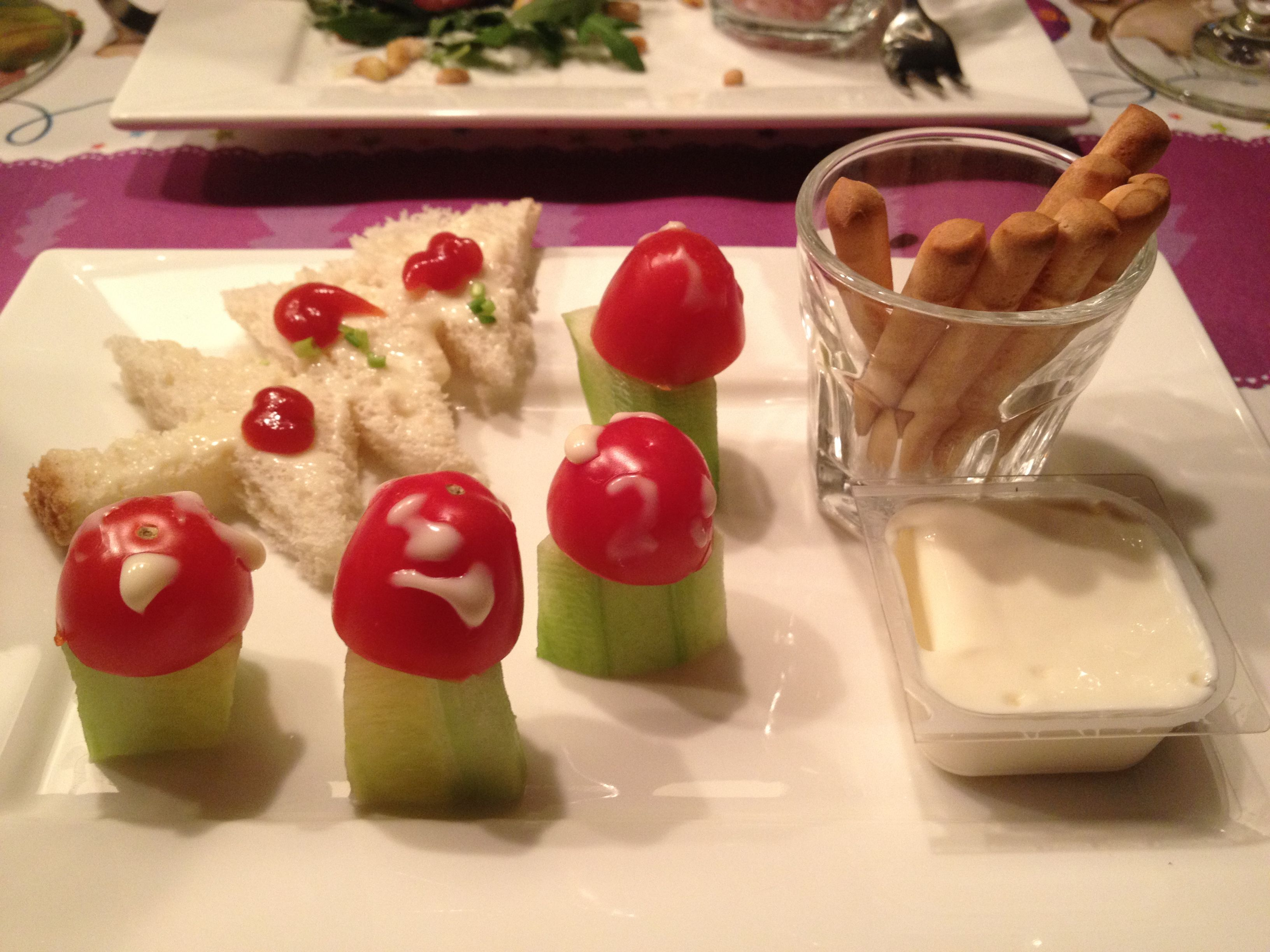 Kinder voorgerecht met kerst lekker eten dinner