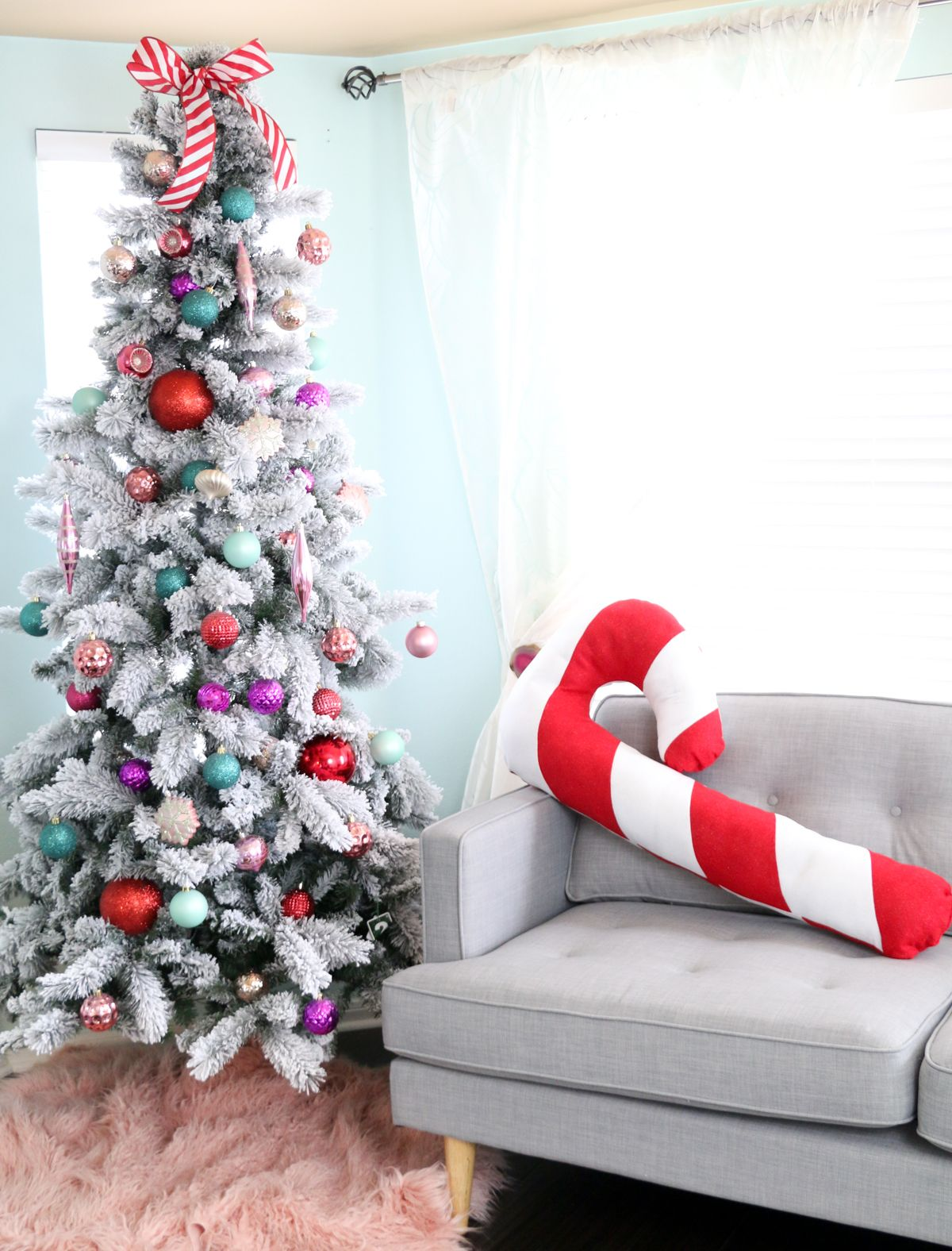 Large Candy Cane Decorations Make A Festive Giant Candy Cane Pillow For Christmas  Candy Canes