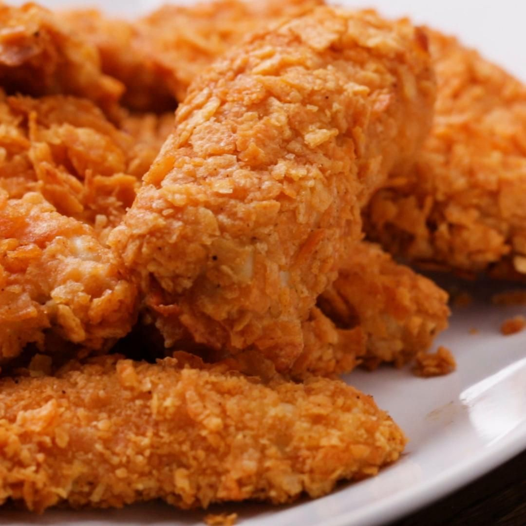 Potato Chip Chicken Tenders Recipe By Tasty Recipe Buttermilk Oven Fried Chicken Potato Chip Chicken Fries In The Oven