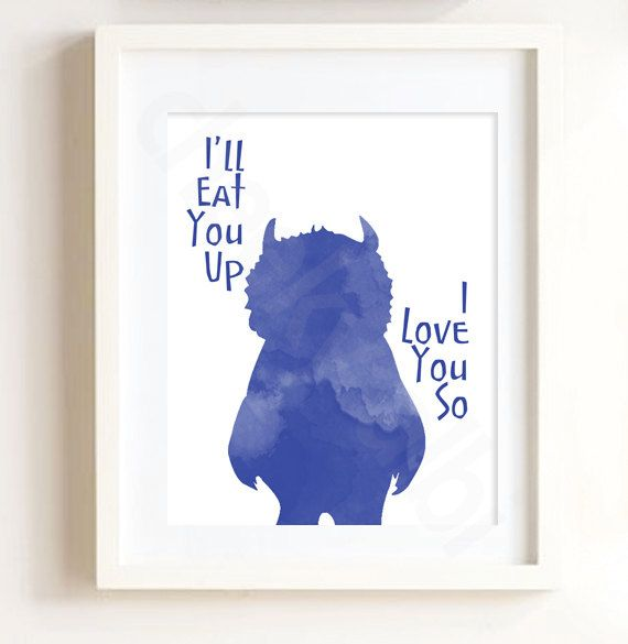 Where the Wild Things Are I'll Eat you up I love you so print art decor baby nursery navy blue boy illustration monster by CheekyAlbi, $15.00