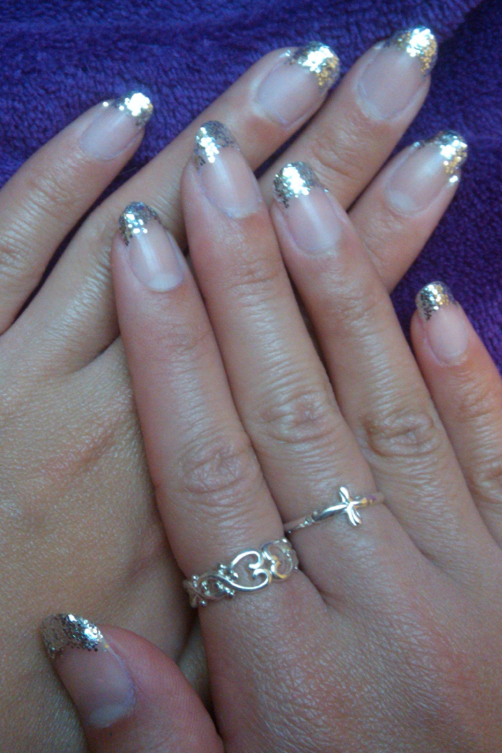 silver glitter french nail | Girlygirl | Pinterest