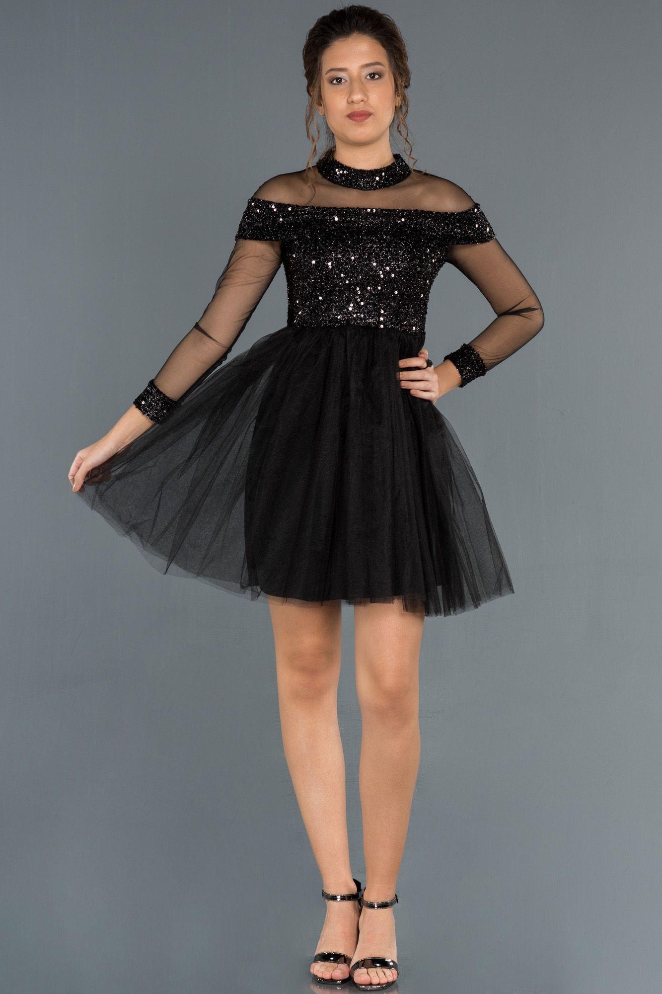 Siyah Kisa Pul Payet Detayli Tul Abiye Abk799 2020 The Dress Moda Stilleri Elbise