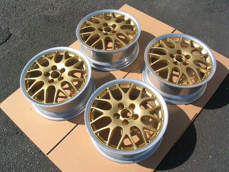 Gold powder coated rims. See our gallery of powder coated