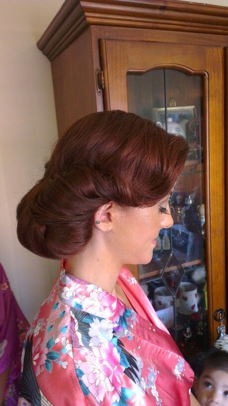 Side bun and soft fringe sweep for my beautiful bridesmaid