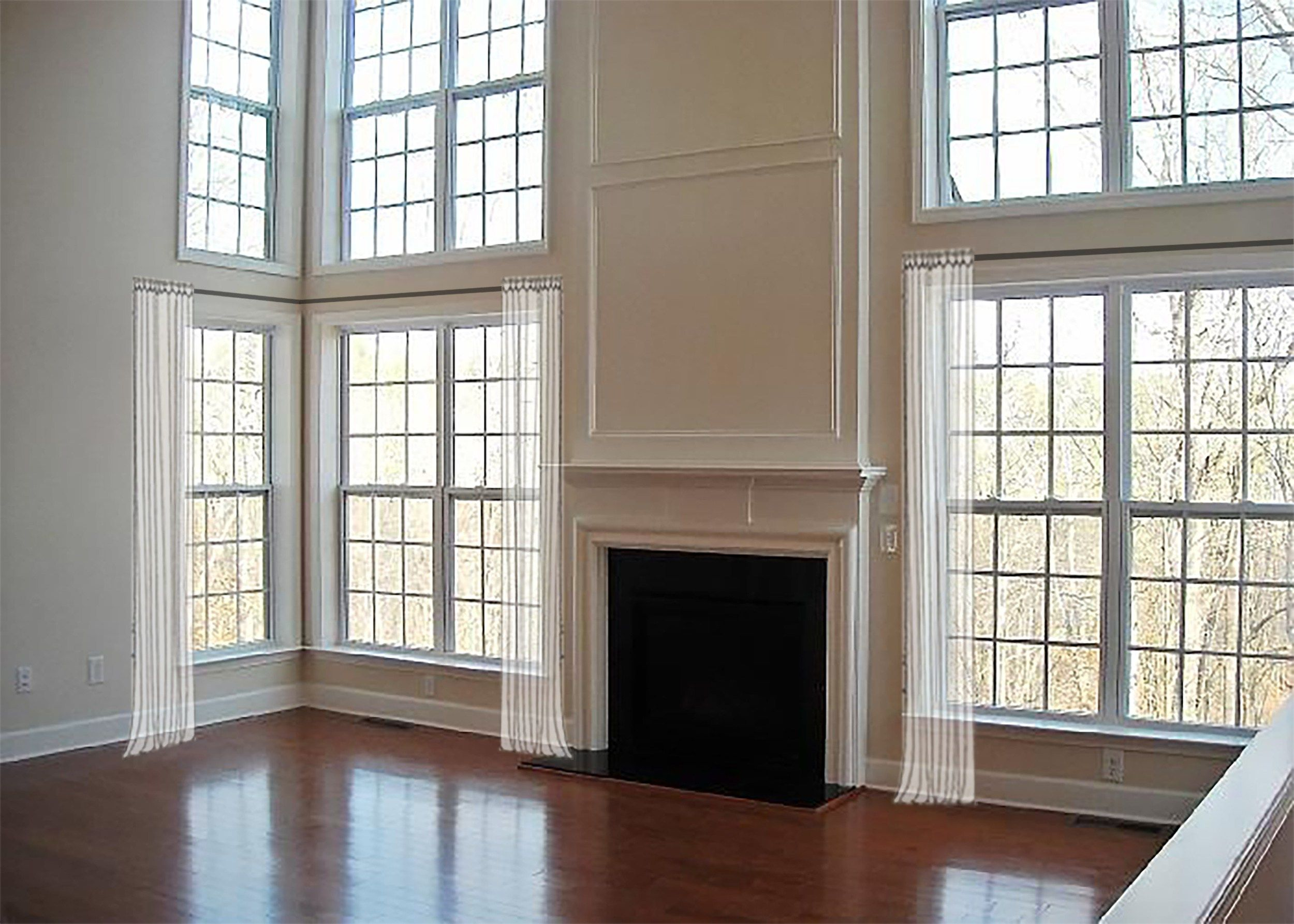 Window coverings for 2 story windows  how to dress awkward windows  where to shop for readymade options