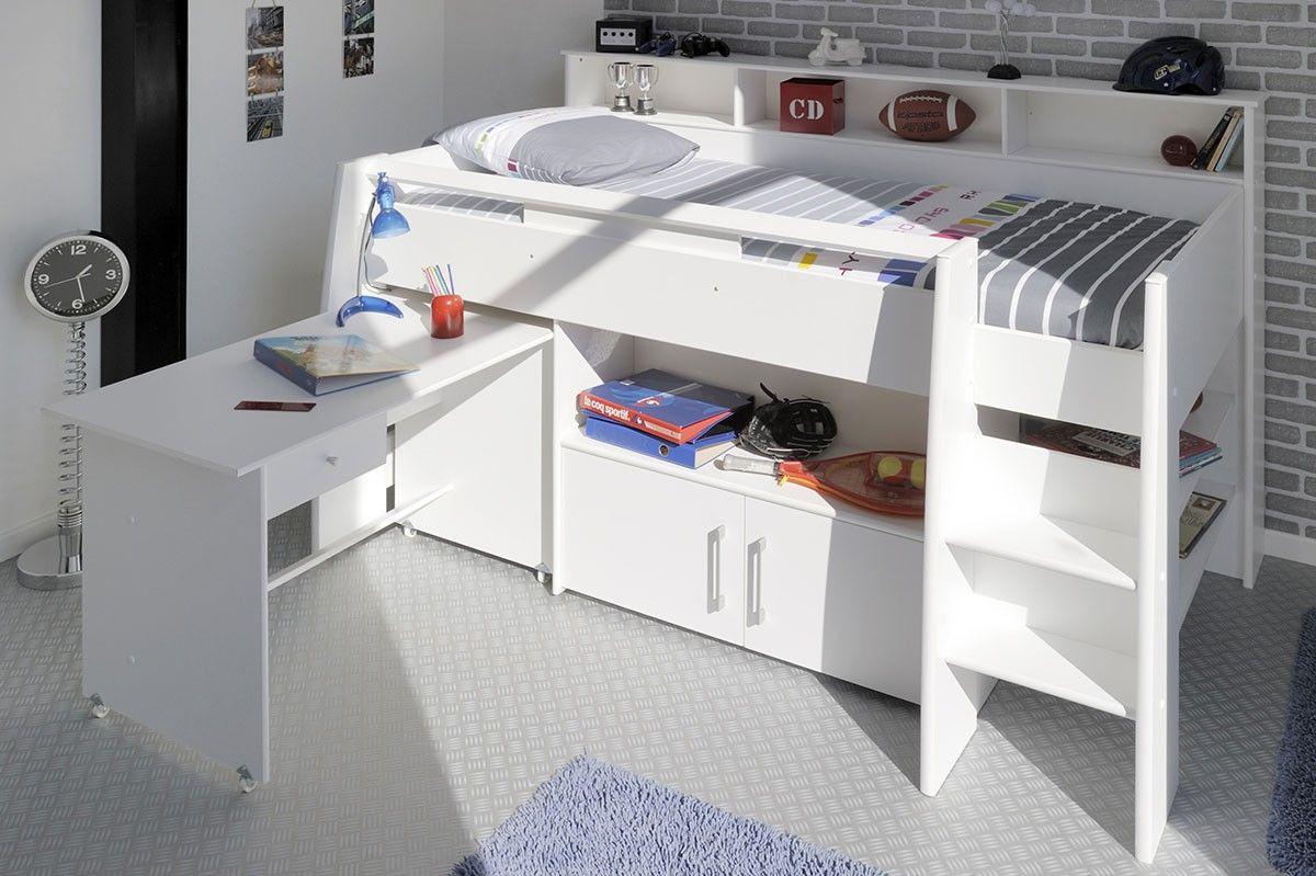 Lit Combine Adolescent 90x200 Cm Blanc Lilou Muebles Habitacion Camarote Con Escritorio Dormitorios