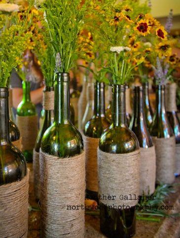 DIY Wine Bottle Centerpieces Wrap Rustic Twine Around Wide Part Of Then