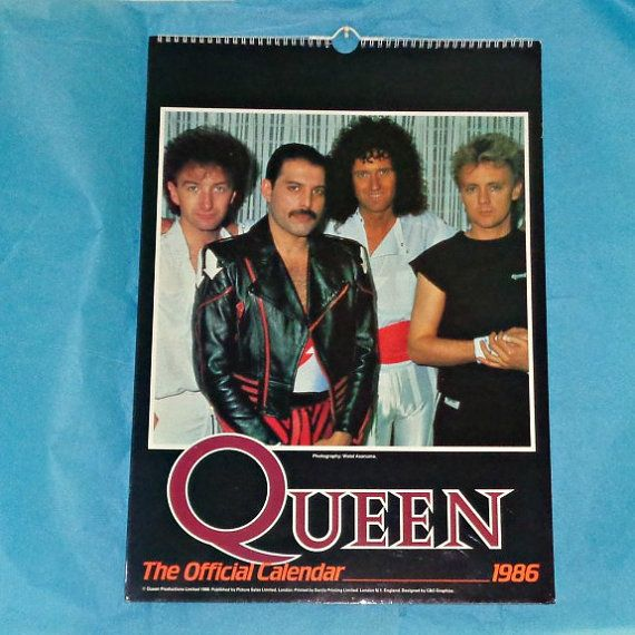 Rare Official Queen 1986 Calendar Music By Owlvintagecalendars
