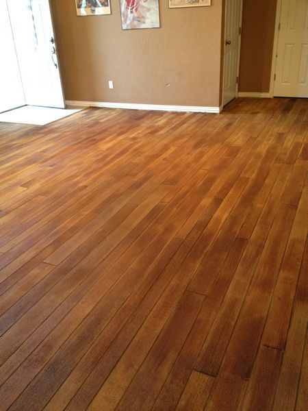 Wood plank stamped concrete floor Had NO idea this could even be done......so cool!!!!