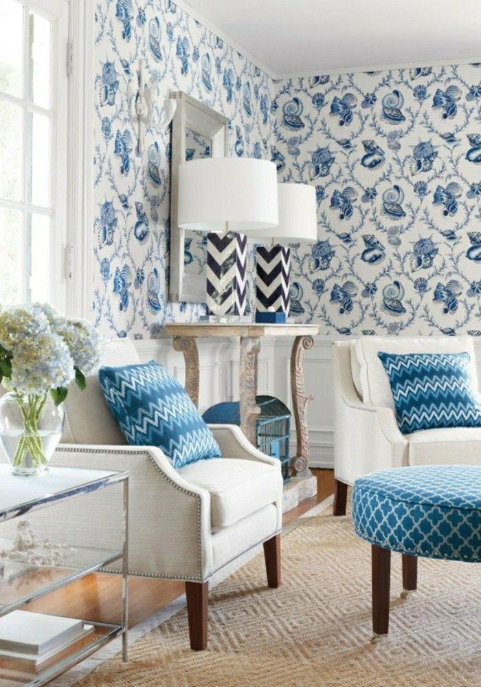 wohnzimmer tapeten ideen mit floralen mustern Wanddekoration - wohnzimmer tapeten ideen