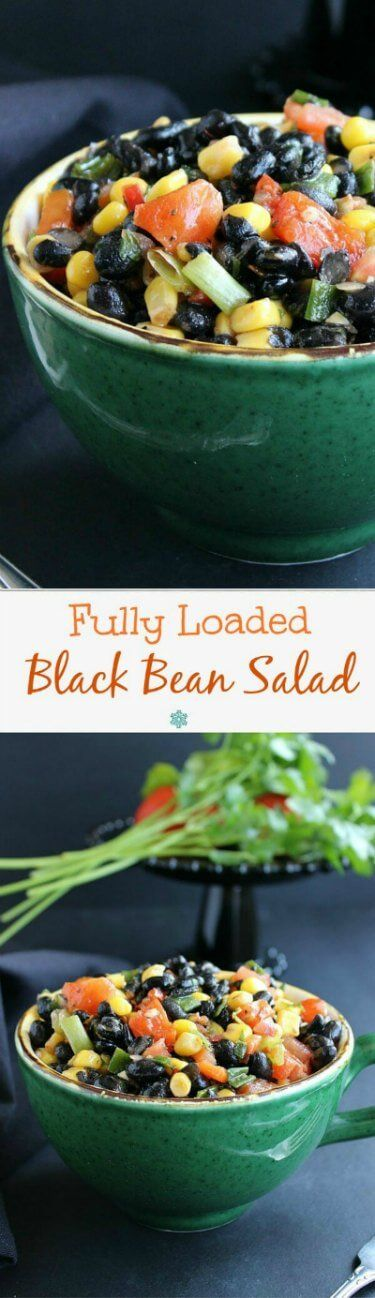Fully Loaded Black Bean Salad Fully Loaded Black Bean Salad is a colorful & flavorful salad. Perfect & easy for potlucks, parties, lunches and anytime! Only 15 minutes.
