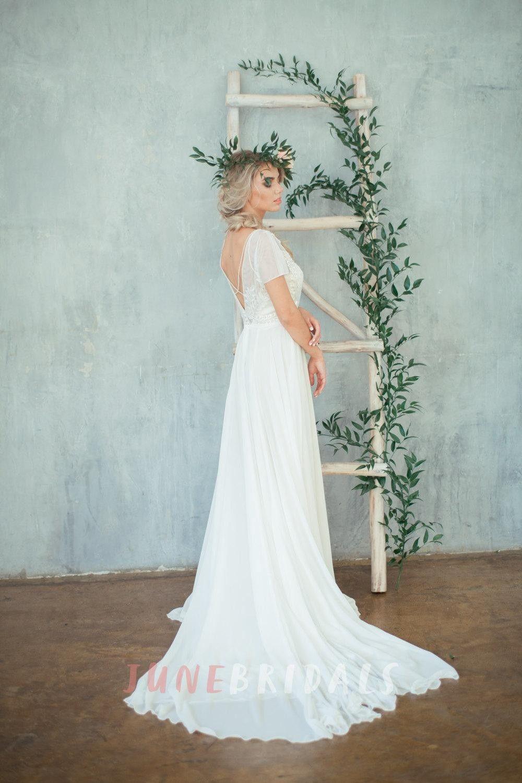 Jewel Neck Cap Sleeve A-Line Chiffon Wedding Dress With Beaded ...