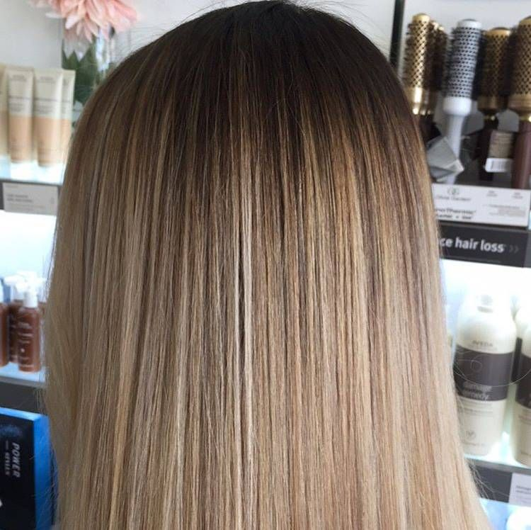 Balayage For Days John Robert S Spa Natural Balayage On Long Straight Hair Beige And Caramel Blonde Balayage Long Straight Hair Straight Hairstyles