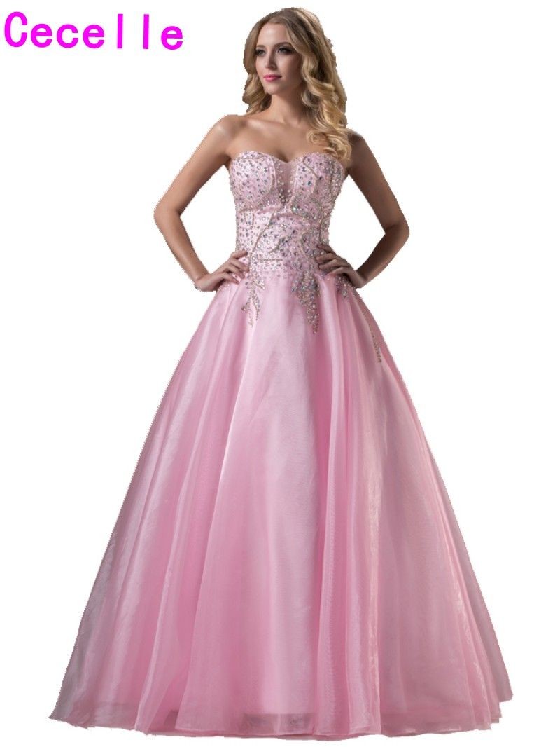 Click to Buy << Sparkle Long Formal Pink Ball Gown Prom Dresses ...