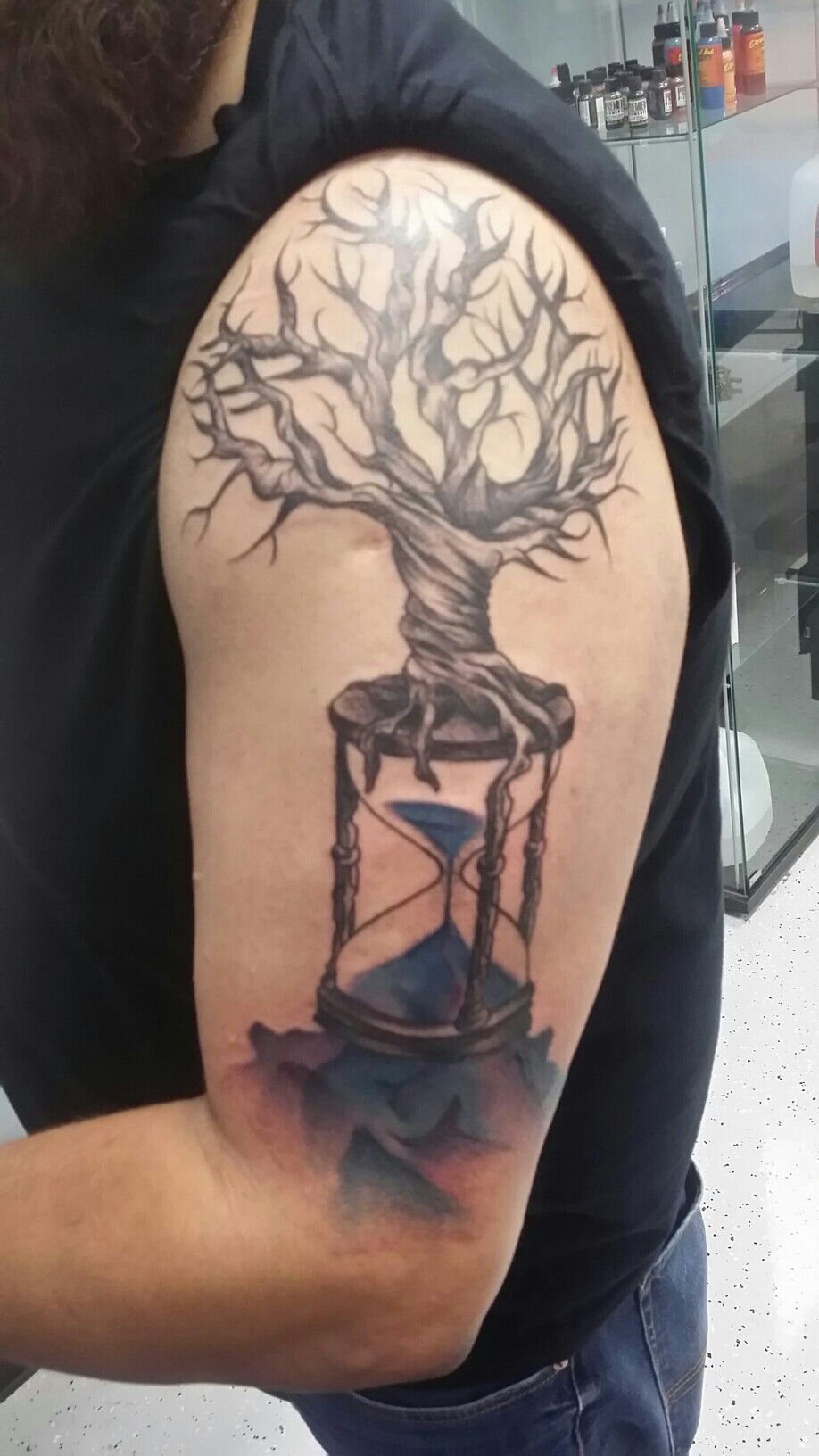 Hourglass and tree tattoo I got from Rose and Dagger
