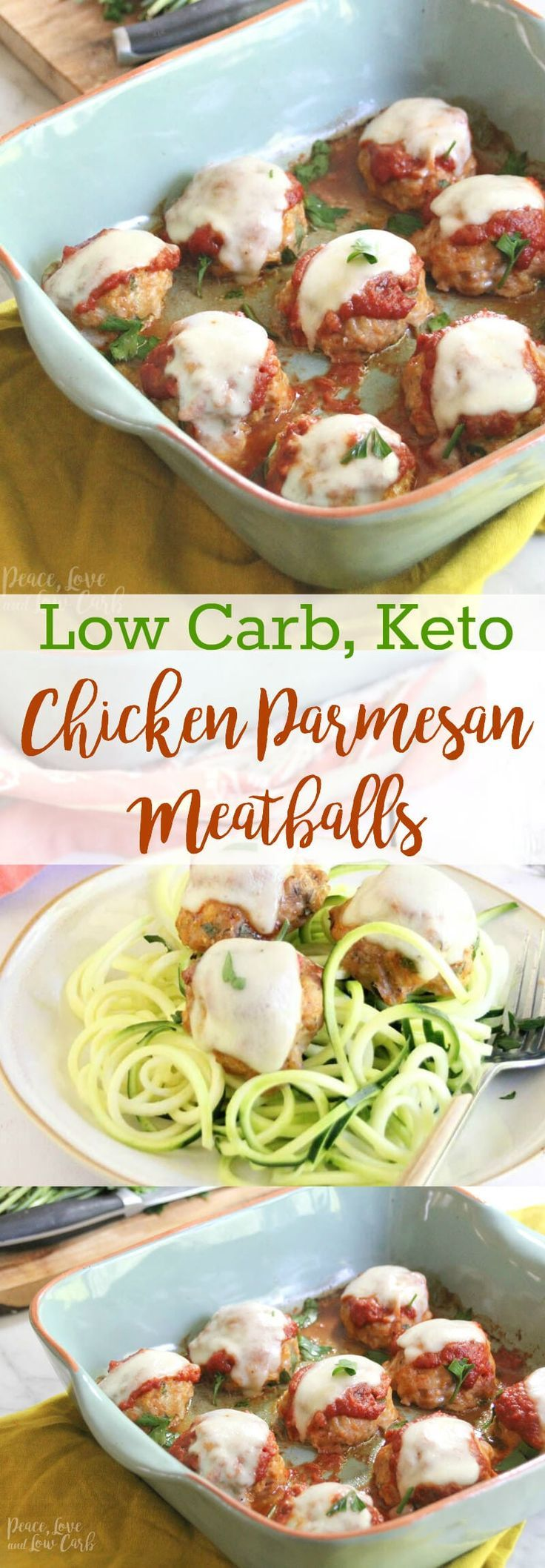 Low Carb Chicken Parmesan Meatballs |Peace Love and Low Carb #chickenparmesan