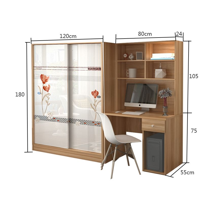 Desktop Computer Desk Wardrobe Conjoined Desk Bookcase Combination With Sliding Door Wardrobe Ch Bedroom Furniture Design Cupboard Design Computer Table Design