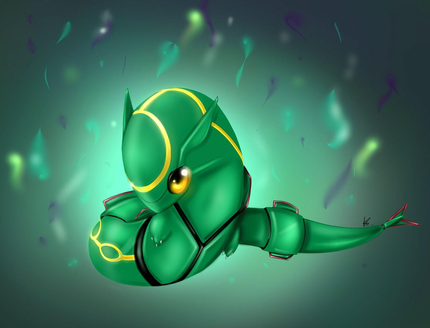 rayquaza fanart drawing pokemon illustration chibi dragon green