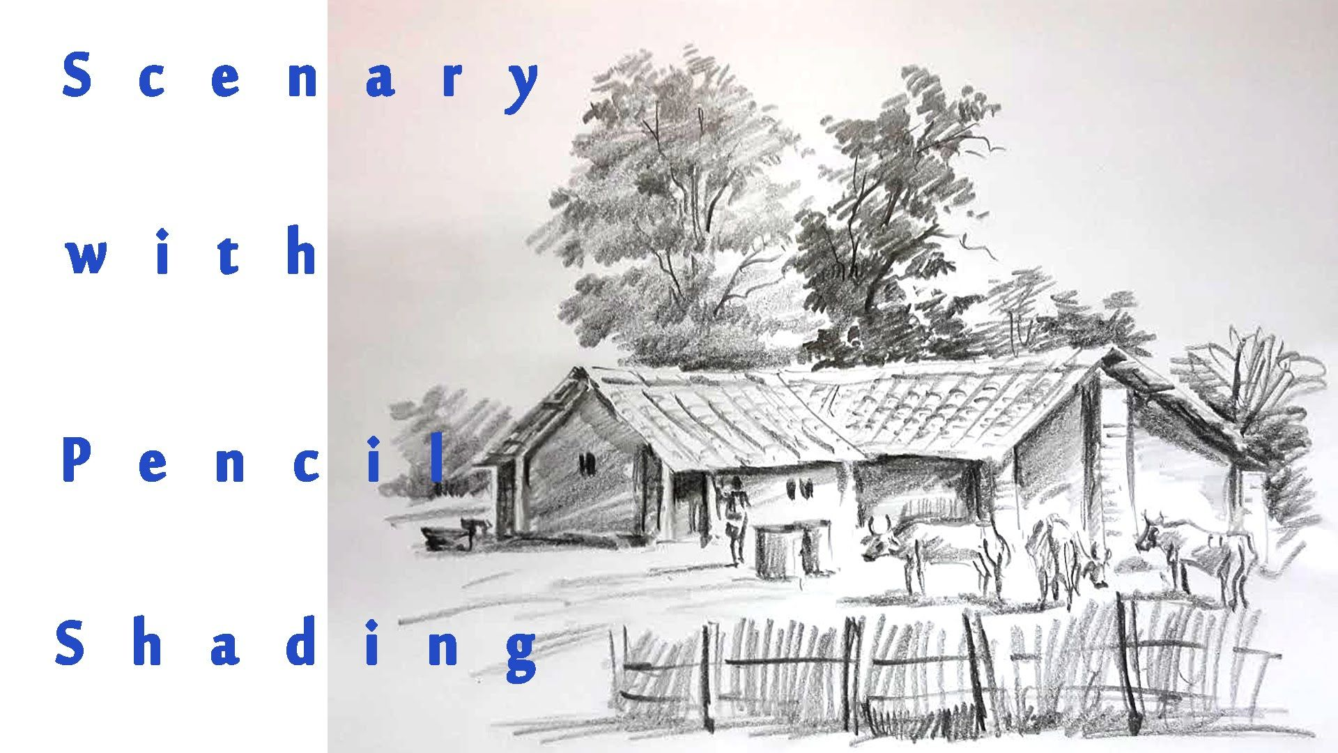 Scenary of village pencil shading real time