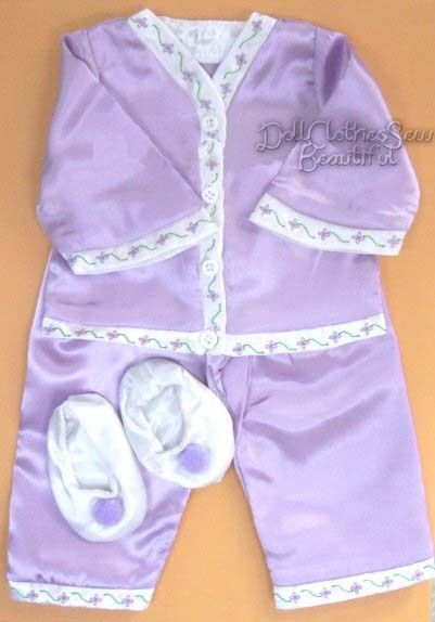 Lavender Satin Pajamas + Slippers made for American Girl NELLIE Doll Clothes