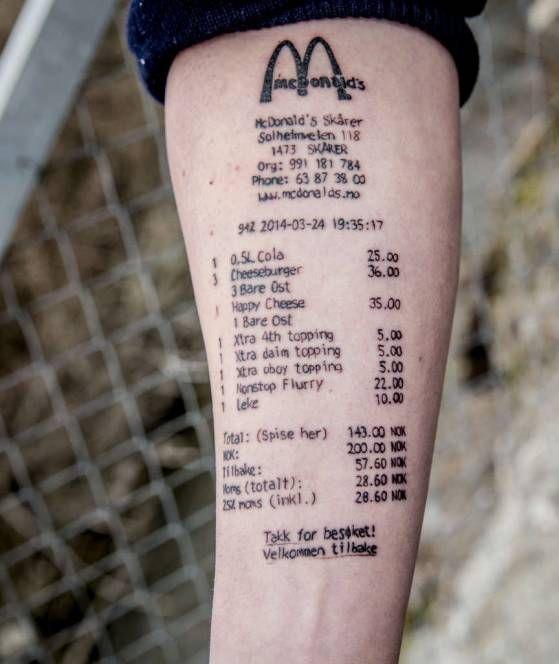 tattoo mcdonald 39 s rechnung ziert arm des norwegers stian. Black Bedroom Furniture Sets. Home Design Ideas