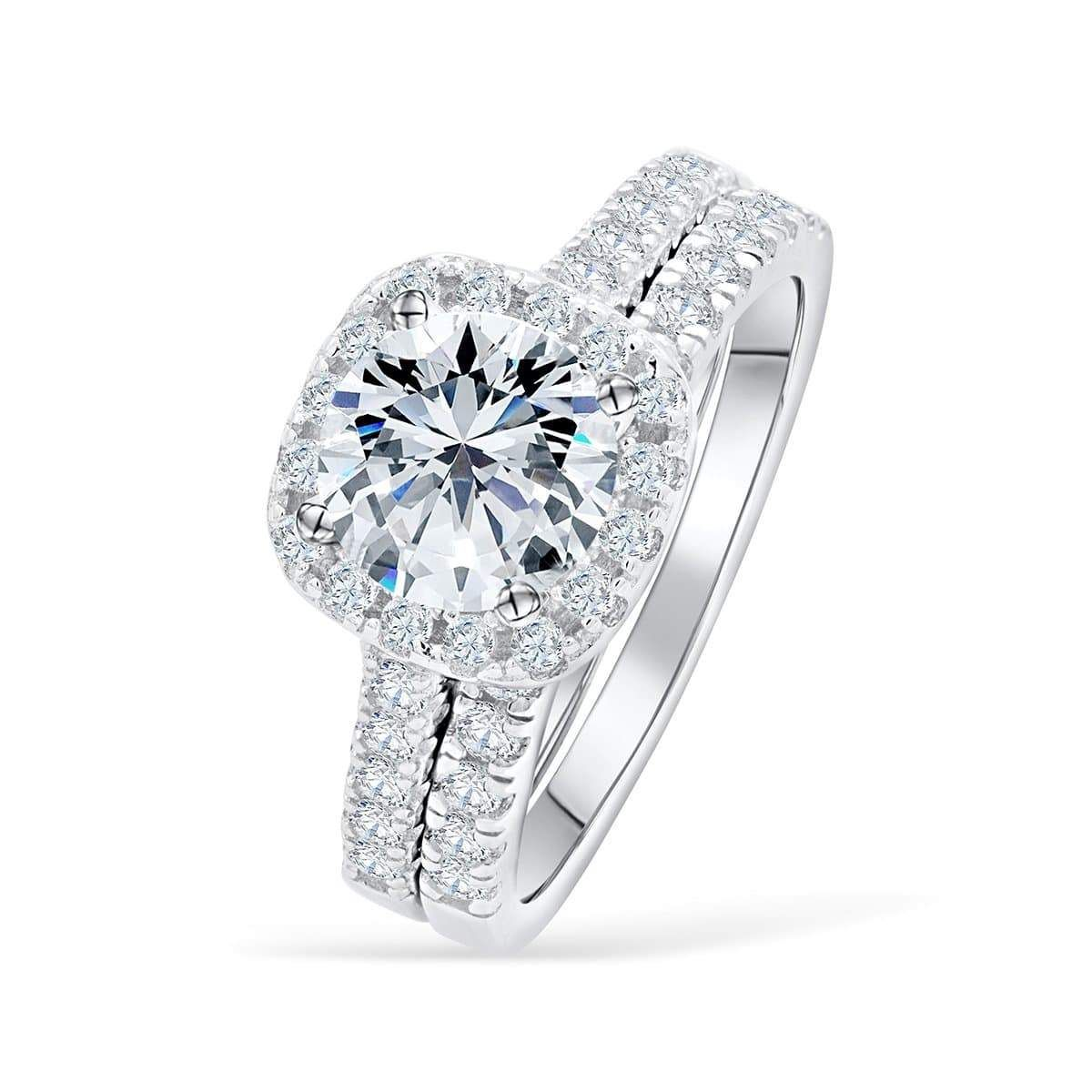 The Evermore Halo Engagement Ring Sets Unique Engagement Rings Affordable Wedding Ring Set