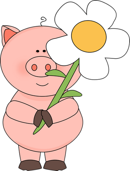 Pig Clip Art | Pig in the Rain Clip Art Image - pink pig wearing ...