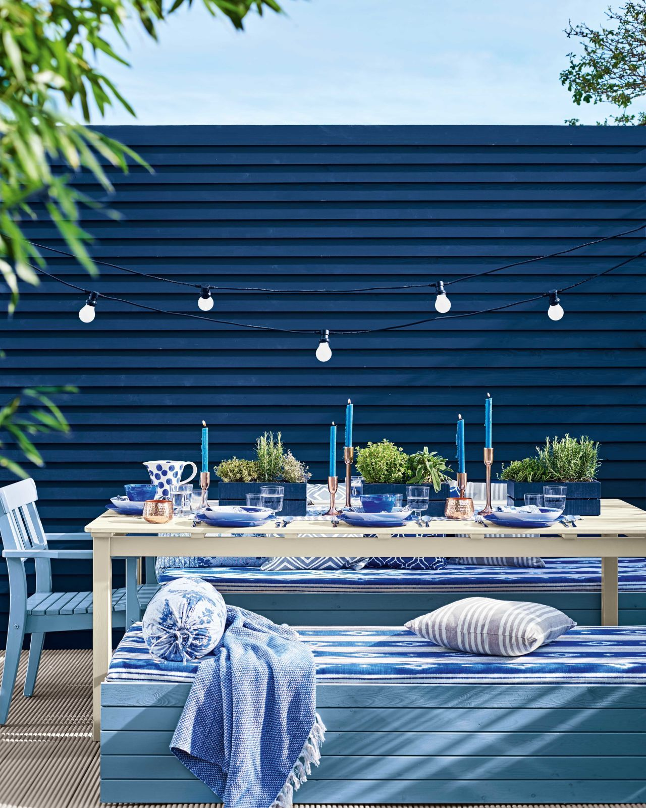 Garden dining alfresco style is part of garden Decking Inspiration - Expert advice on using deep saturated blues to update your garden