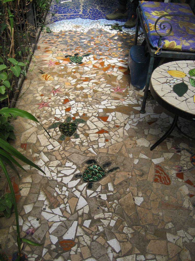 Mosaic Walkway At Tile Works Mosaic Walkway Mosaic Garden Mosaic Murals