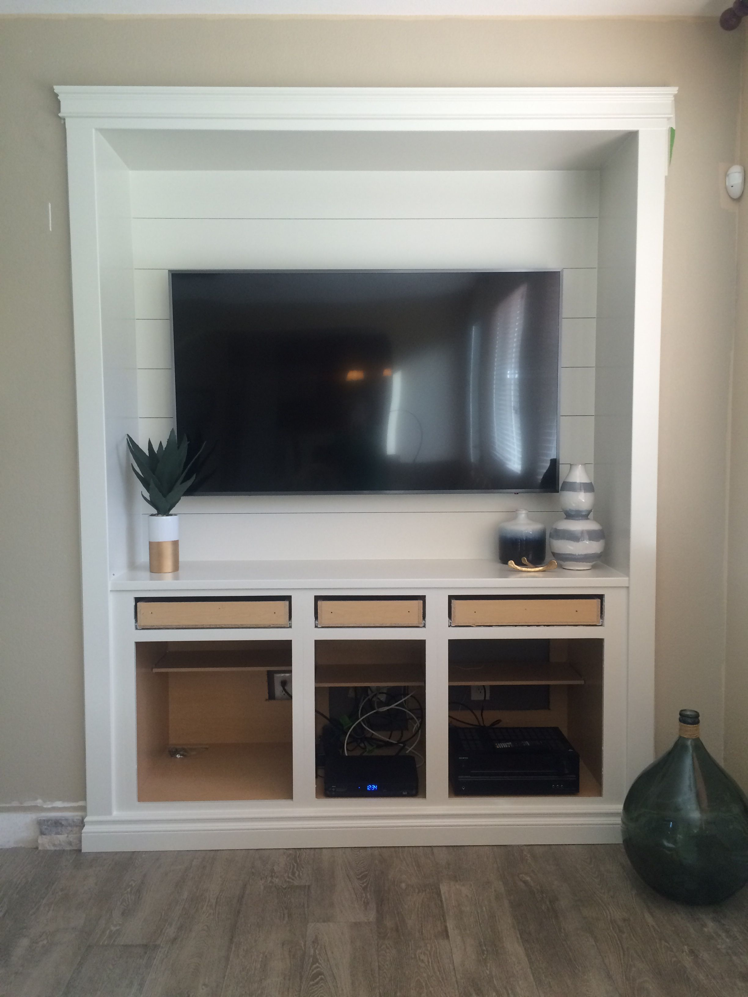 Ship Lap Media Niche In Progress Painting The Doors Cost Was Around 500 To Build Ourselves Built In Entertainment Center Built In Tv Cabinet Tv Nook