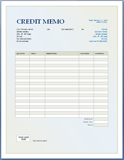 Credit Memo Template from i.pinimg.com