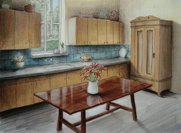Kitchen prismacolor markers colored pencil adrienne michaels via behance · perspectivemockupcolor palettessketchesdrawarchitectureinteriors
