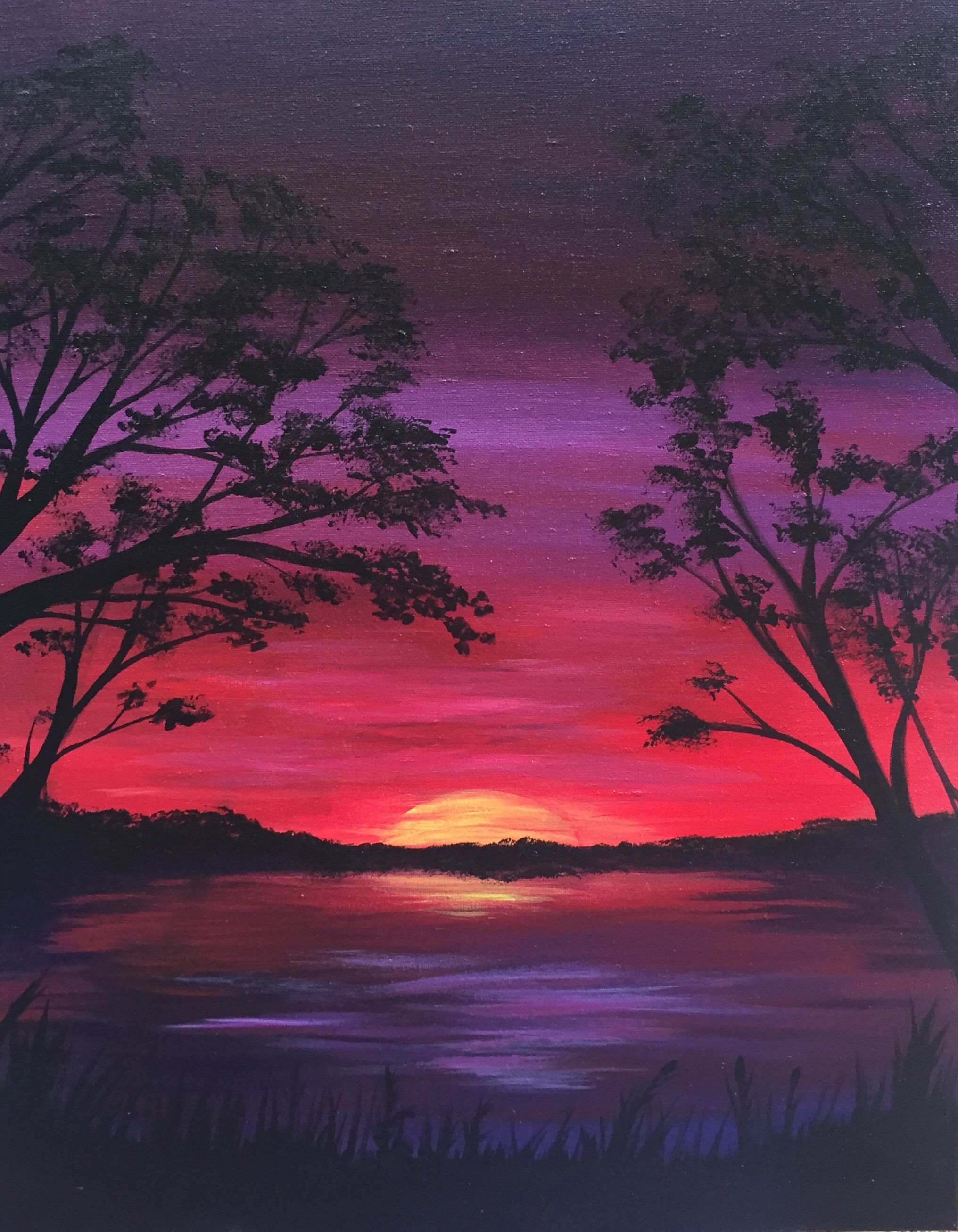 Lake At Sundown At Eli S On The Hill Paint Nite Events Easy Landscape Paintings Landscape Paintings Art