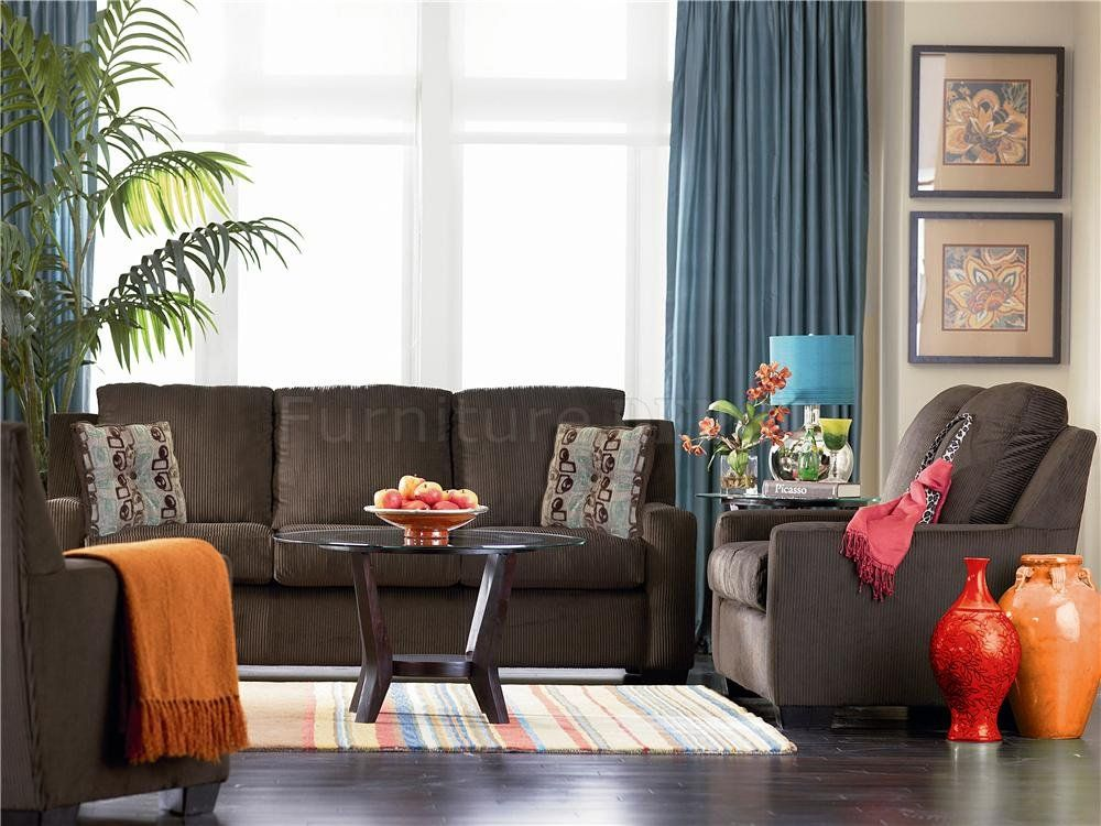 39 Living Room Ideas With Light Brown Sofas Green Blue: Chocolate Brown Chenille Contemporary Living Room Sofa W