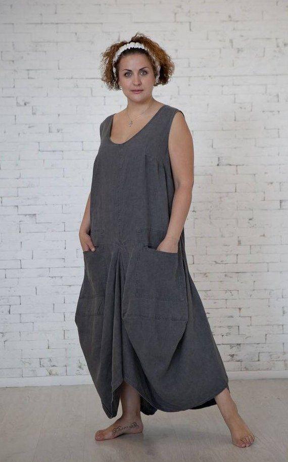 1dd0ebda1 Sleeveless Dress With Pockets Casual Summer Dress Grey Comfy Dress Custom  Bell Sleeve Bohemian Overs