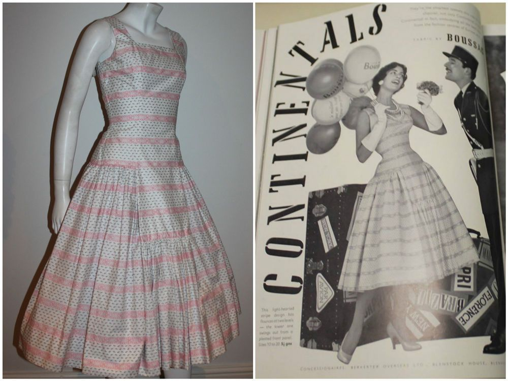 Vintage 50s 1956 Berketex floral novelty dress featured in Vogue DEADSTOCK 6 8 S