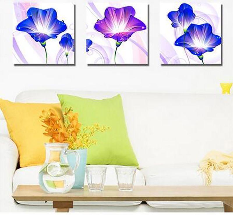 5D DIY 3pcs Purple Morning Glory Flowers Diamond Painting Full Kit ...