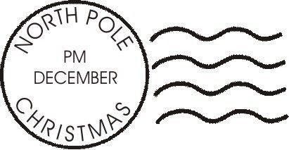 North Pole Postmark Envelope Christmas Art Rubber Stamp Stamp Christmas Art Christmas Magic
