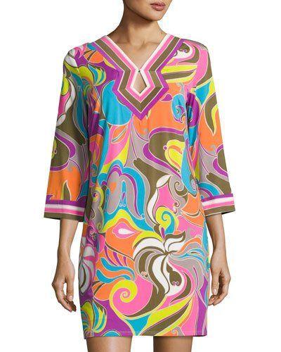 Kaylan Swirl-Print Dress, Multi Pattern