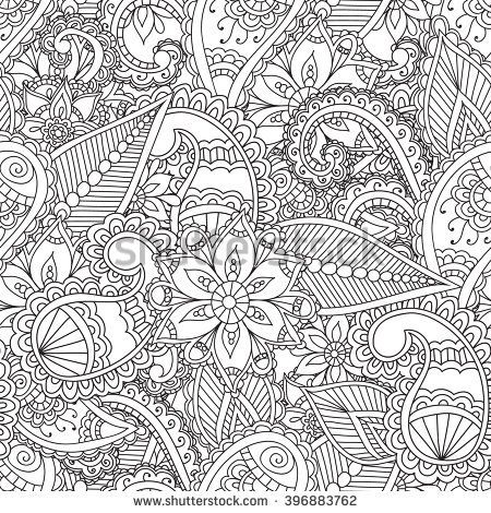 Coloring pages for adults.Seamless pattern.Henna Mehendi Doodles ...