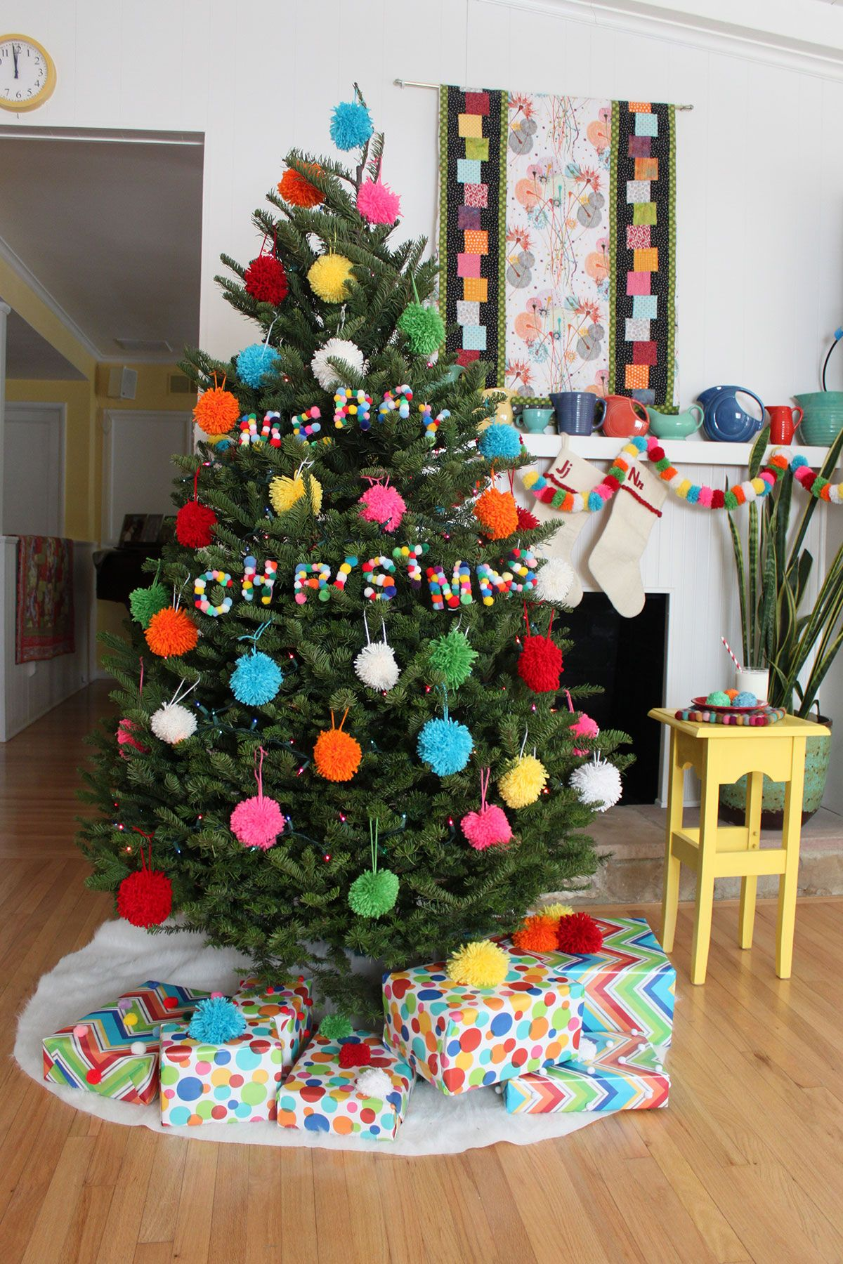 A Pom Pom Christmas Paint The Gown Red Creative Christmas Trees Boho Christmas Tree Christmas Diy