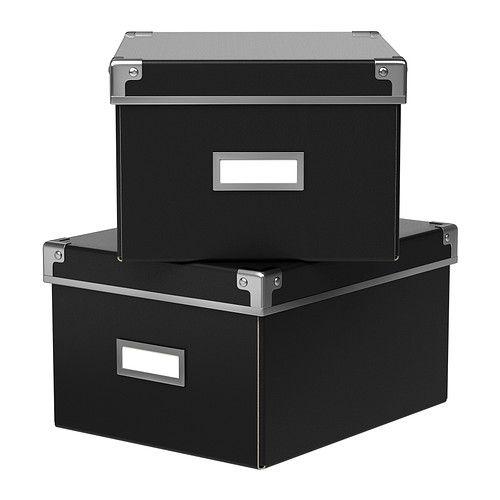 ikea kassett bo te avec couvercle noir 21x26x15 cm id al pour ranger dvd jeux. Black Bedroom Furniture Sets. Home Design Ideas