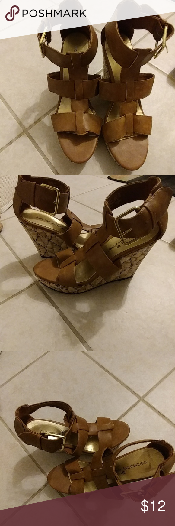 Brown wedges These have been worn once. They have about a 4 inch heel and a 1 inch platform Shoes Wedges