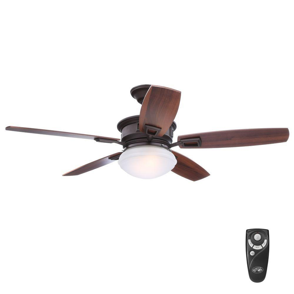 Hampton Bay Lazerro Ii 52 In Indoor Oil Rubbed Bronze Ceiling Fan With Light Kit And Remote Control Al968 Orb The Home Depot Bronze Ceiling Fan Ceiling Fan With Light Fan Light