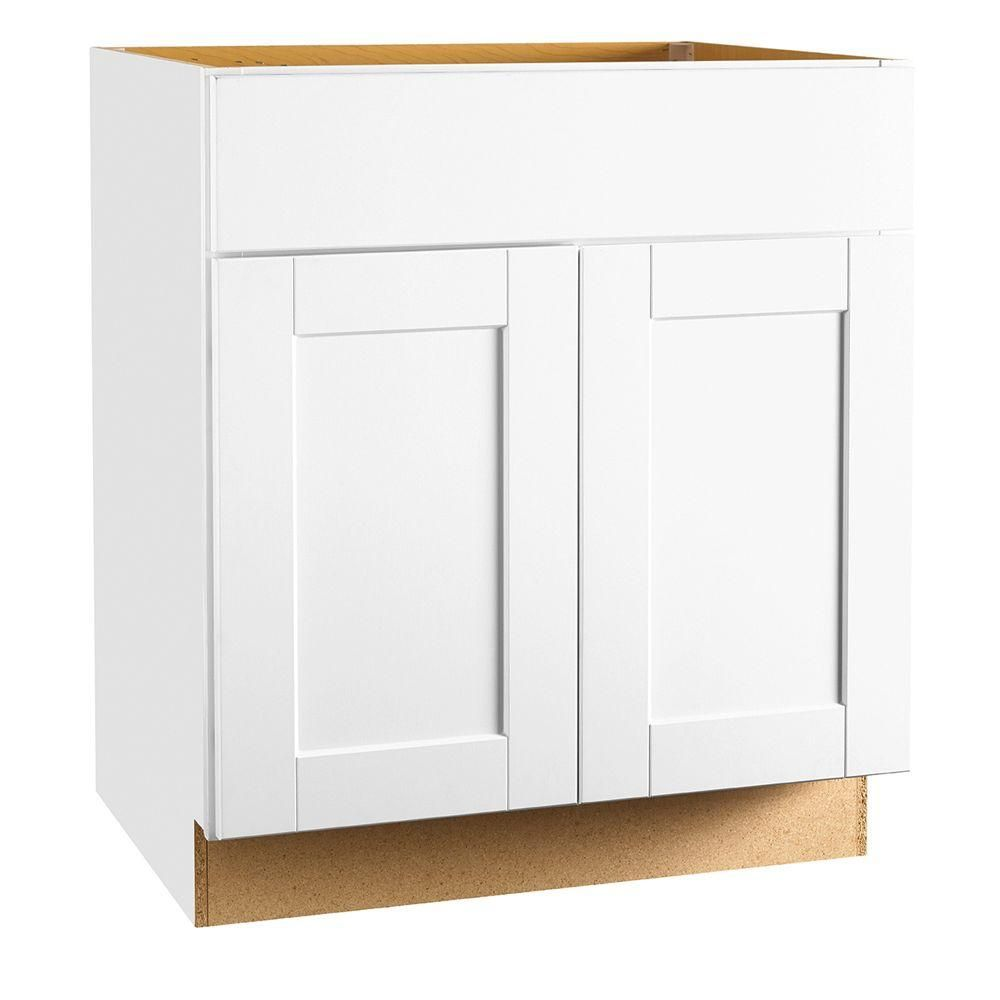 Shaker Assembled 36x34.5x24 in. Sink Base Kitchen Cabinet in Satin ...